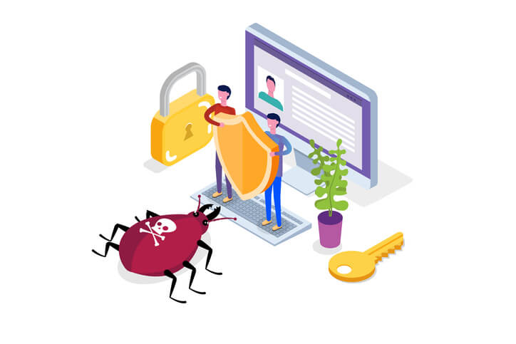 duas pessoas protegendo o computador de virus