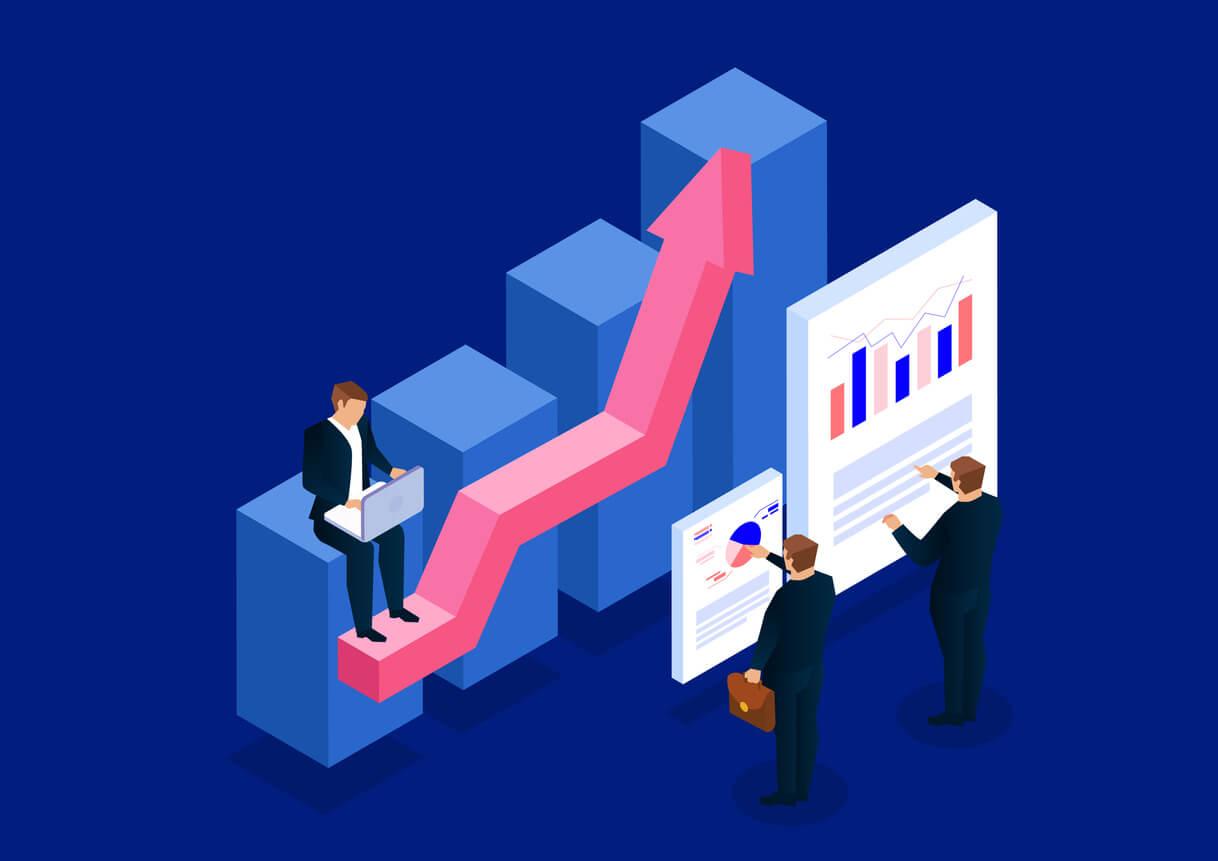 homens de negócio analisando gráficos