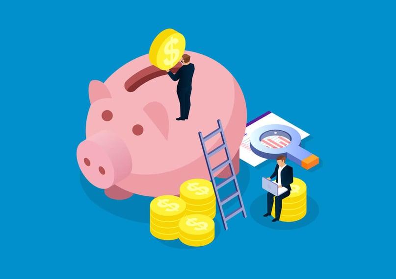 executivo colocando moeda em cofre em formato de porco