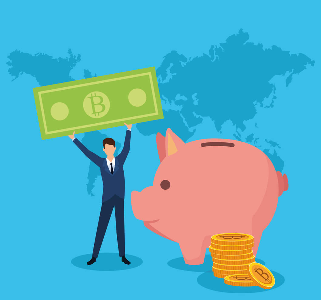 empresário segurando dinheiro ao lado de um cofre em formato de porco