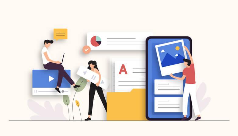 desenho de pessoas trabalhando com anúncios da internet