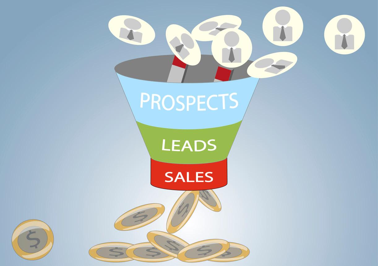 Funil de vendas. Fases prospects, leads, e vendas