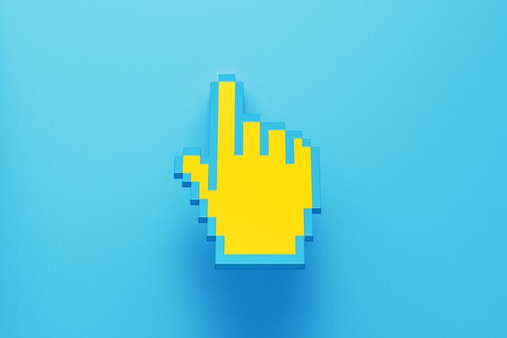mão clique amarela em fundo azul