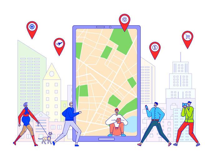 Ilustração de um celular com mapa na tela do aparelho e pessoas em volta andando.