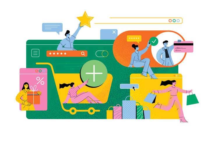 Ilustração colorida com desenho de várias pessoas fazendo compras