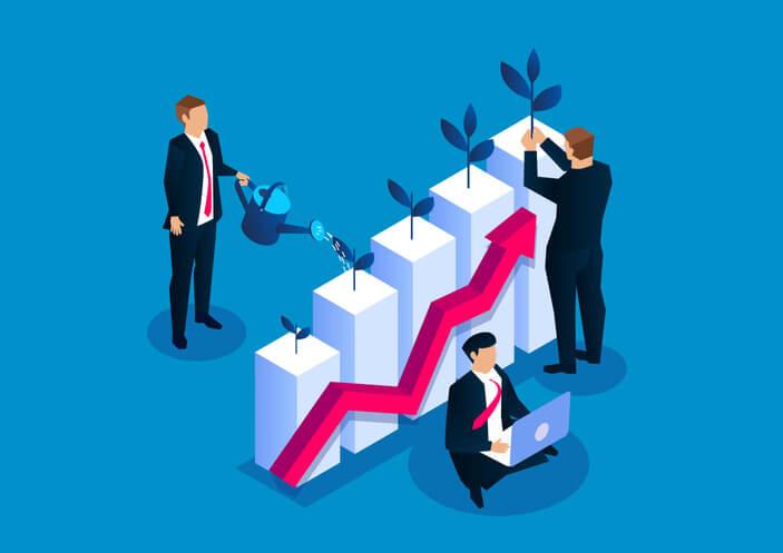 executivos cultivando um gráfico