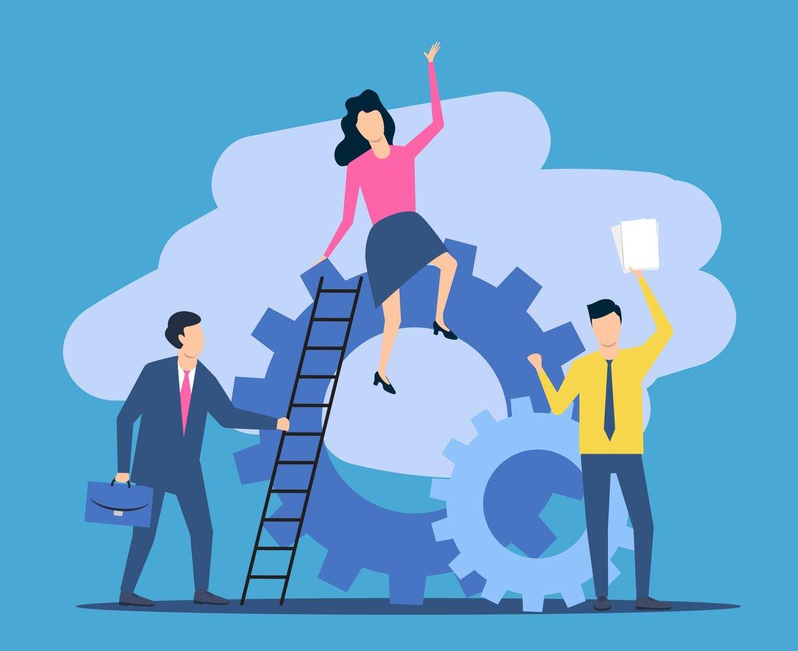 Executivos com engrenagens e escada
