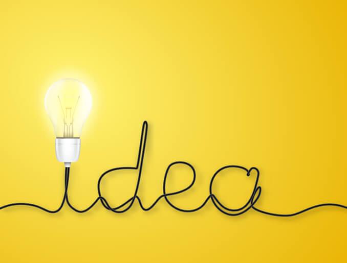 texto ideia com uma lâmpada como acento no primeiro i