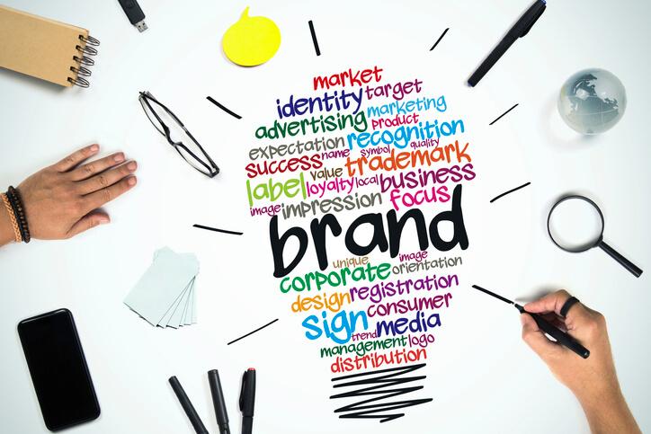 Desenho de uma lâmpada formada por palavras relacionadas ao marketing