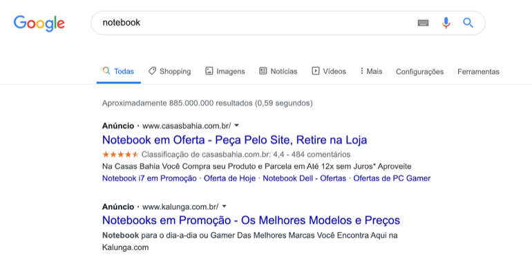 resultados do Google Ads antigo AdWords